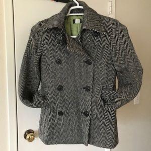 EUC J. Crew Wool Herringbone Coat Size Small